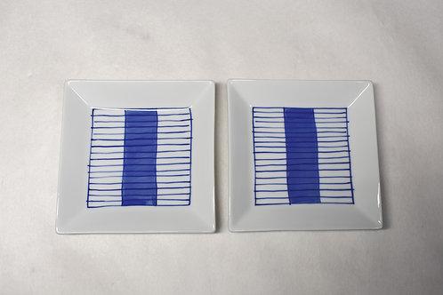 染付新ブルー 額縁正角12㎝皿 2枚セットの