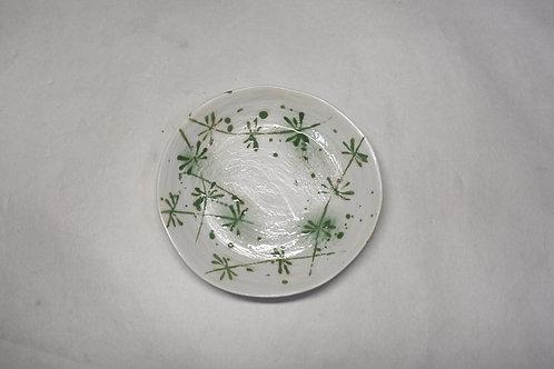 粉引グリーン草花 ひねり取皿