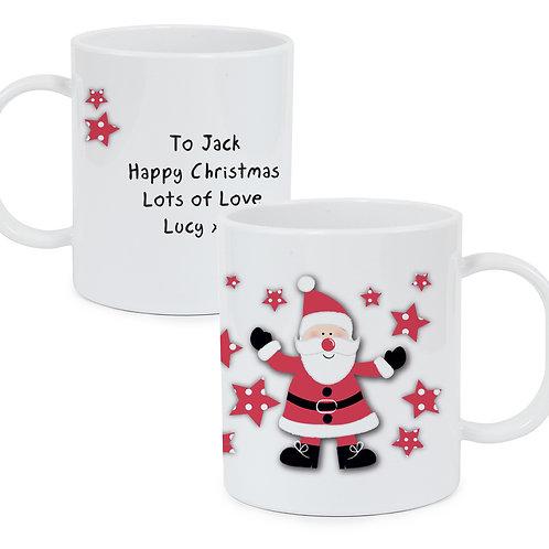 Personalised Spotty Santa Plastic Mug