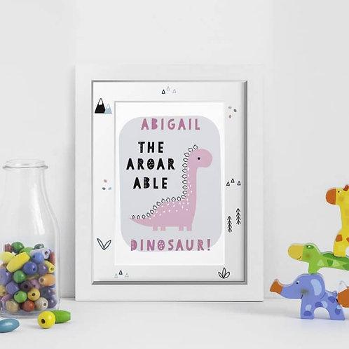 Personalised A-Roar-Able Dinosaur A4 Framed Print