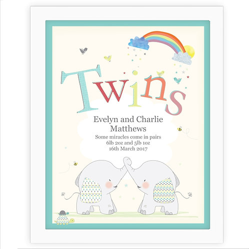 Personalised Hessian Elephant Twins,  What an adorable frame poster for someone who's just welcomed twins into the world