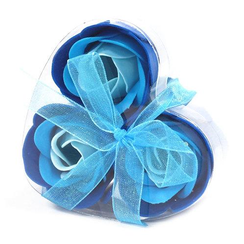Set of 3 Soap Flower Heart Box - Blue Wedding Roses