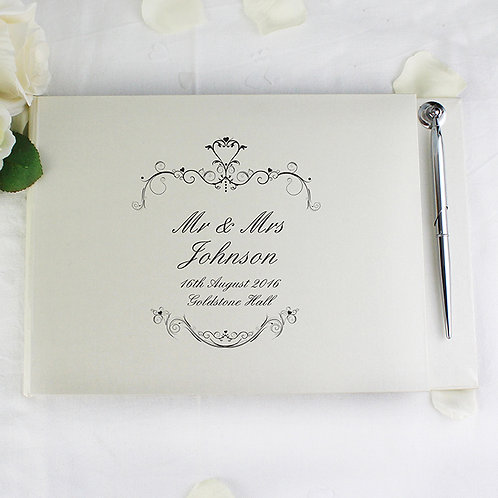 Personalise these Ornate Swirl Guest Book with any message over 4 lines of up to 20 characters per line.