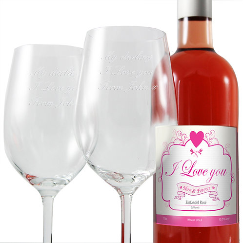 Personalised I Love Rose Wine and Two Glasses-A great wine set nicely presented in a box with an engraved message