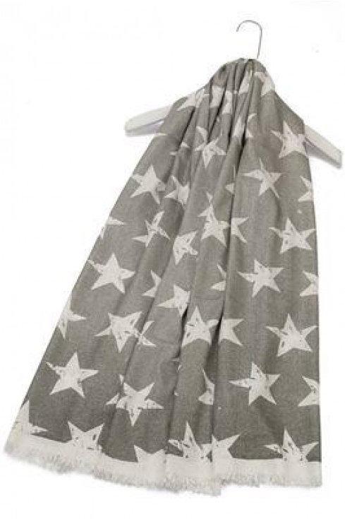 Shimmery Lurex Star Print Frayed Scarf