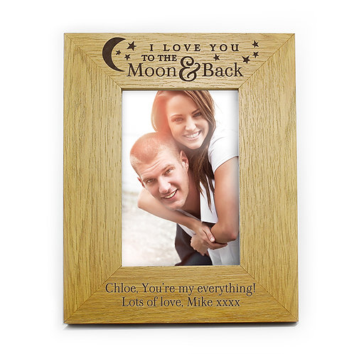 Personalised To the Moon and Back... Oak Finish 6x4 Photo Frame - watchboxleamington.com