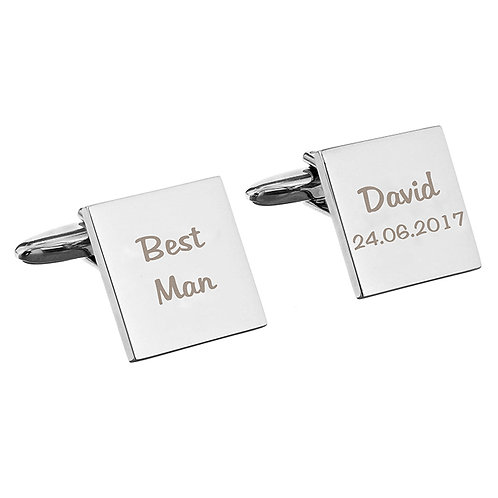Personalise these cufflinks with 2 lines of 10 characters on each cufflinks