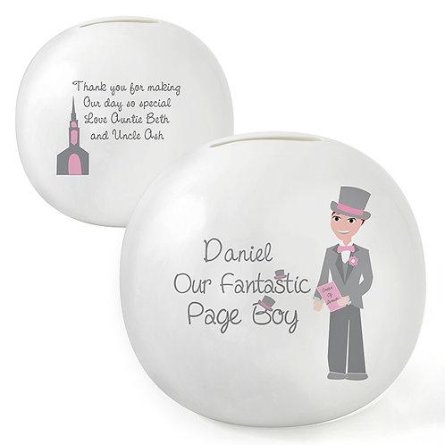 Personalised Fabulous Page Boy Money Box