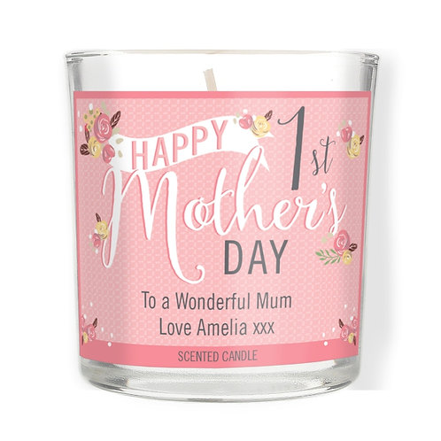 Personalised Floral Bouquet 1st Mothers Day Scented Jar Candle  A lovely gift idea for a new mum on her first Mother's Day!