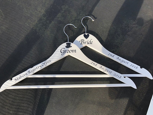 Personalised Bride & Groom Wooden Coat Hanger Set