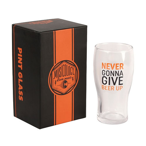 Musicology Beer Glass - Never gonna give beer up
