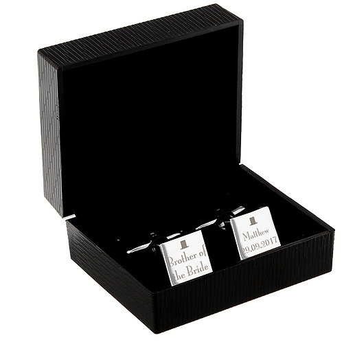 A smart addition to his suit, these Decorative Wedding Cufflinks can be perosnliased with any role, name and date across both