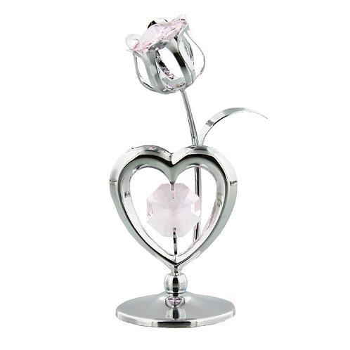 CRYSTOCRAFT HEART & TULIP WITH CRYSTALS FROM SWAROVSKI