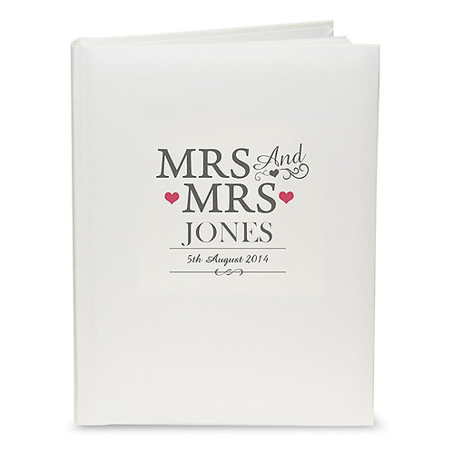 Personalise this Mrs & Mrs Traditional Album with couples surname and wedding date