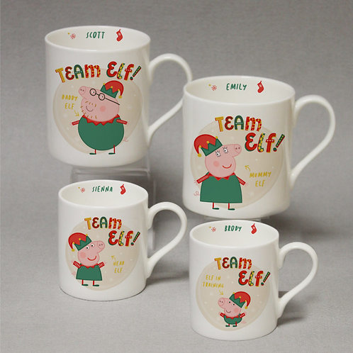 Personalised Peppa Pig Team Elf  Balmoral Mug