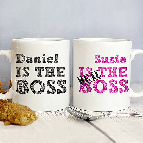 Personalised The Real Boss Mug Set