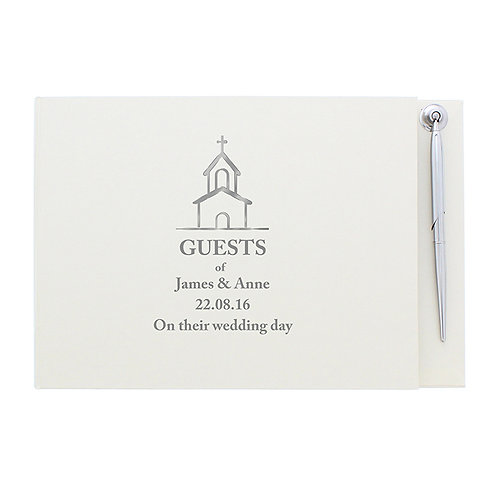 personalise this guestbook with 3 lines of text up to 25 characters per line