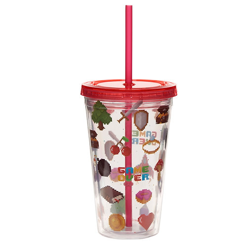Funky Game Over Double Walled Cup with Lid and Straw