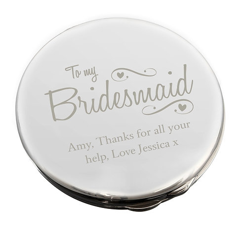 Personalised Bridesmaid Swirls & Hearts Compact Mirror  with a message over 2 lines of 25 characters per line.