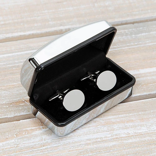 HARVEY MAKIN® set of oval cufflinks in an engravable box.  The set can be personalised with an engraved message for the recip