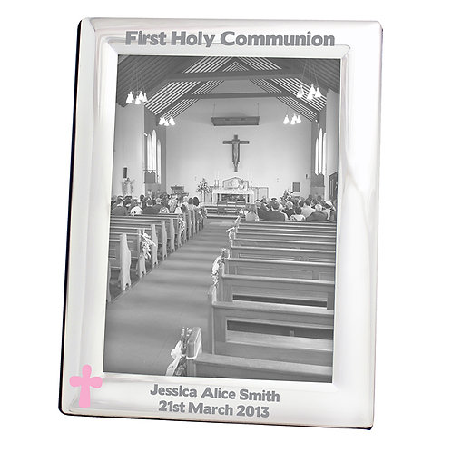 Personalised Pink Cross Silver 5x7 Photo Frame