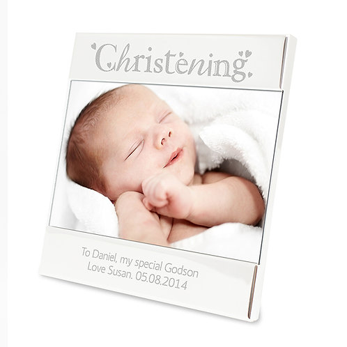 Personalise this fantastic Silver Christening Square 6 x 4 Frame with any message