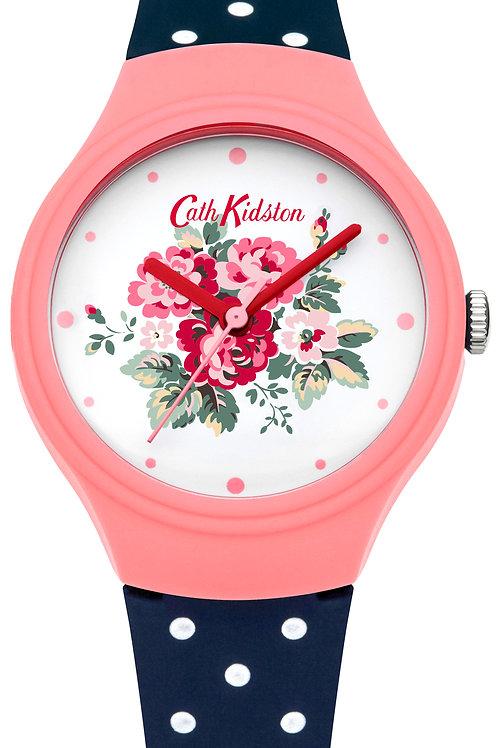Cath Kidston Navy Spray Flowers Polka Dot Watch CKL024PU