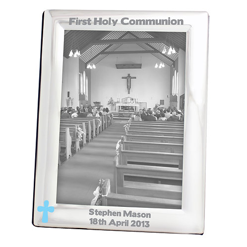Personalised Blue Cross Silver 5x7 Photo Frame