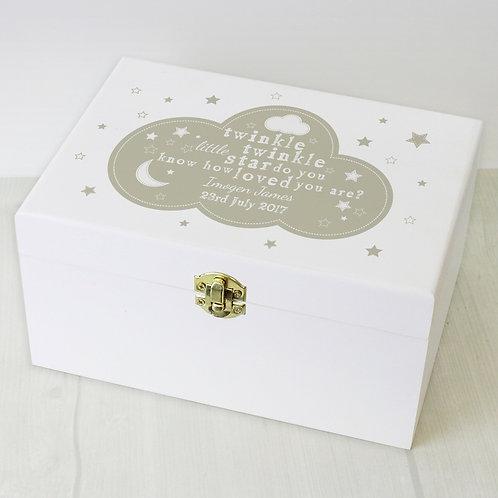 Personalised Twinkle Twinkle White Wooden Keepsake Box is a gorgeous way to store treasured memories