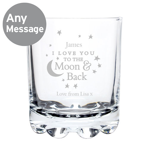 Personalised To the Moon and Back...Tumbler -Personalise this whisky glass with a name & short message.