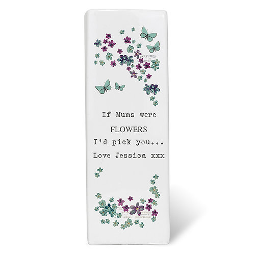 Personalise this contemporary Forget me not Ceramic Square Vase with up to 4 lines of 20 characters per line