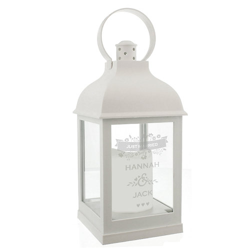 Our Personalised Couple's Floral Rustic Lantern is perfect for celebrating an anniversary, or as a wedding venue decoration.