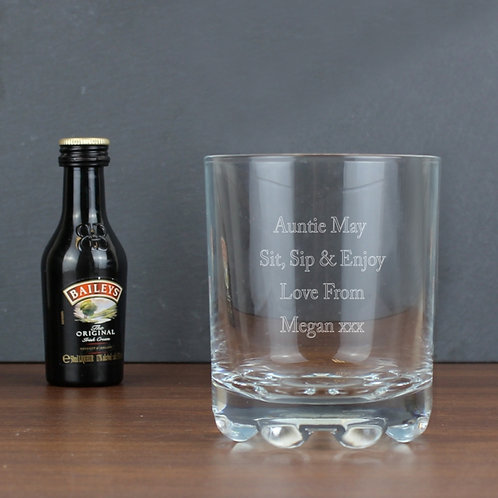 Personalised Whisky Glass & Baileys Miniature Set.This Stern Glass with Baileys Original Miniature makes for an original gift