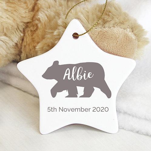 Personalised Polar Bear Ceramic Star Decoration