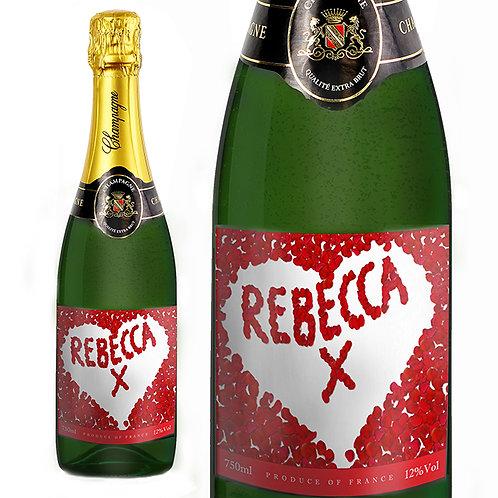 Personalised Rose Petal Champagne Bottle