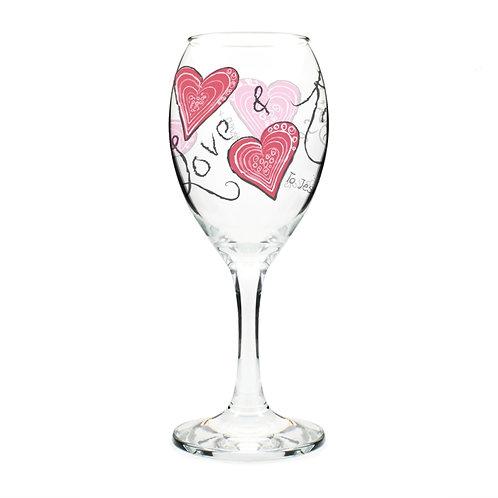 Personalised Love & Kisses Wine Glass