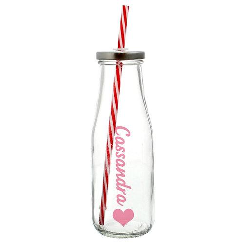 Personalised Heart Motif Milk Bottle