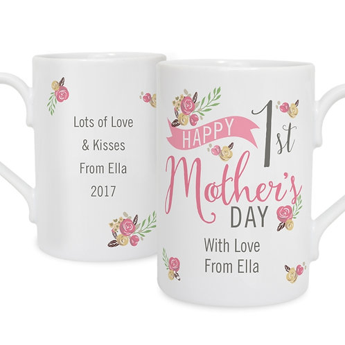 Personalised Floral Bouquet 1st Mother's Day Slim Mug-Spoil your mum this mothers day