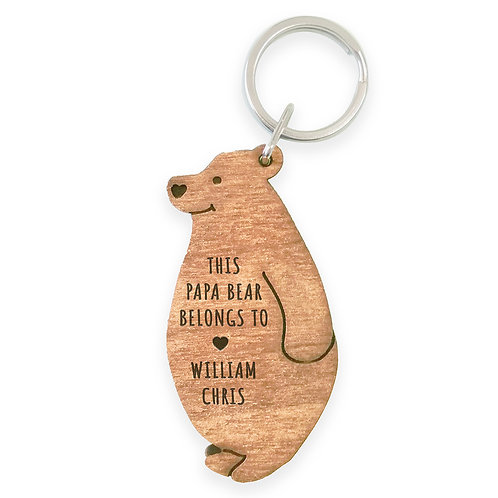 Personalised Papa Bear Keyring