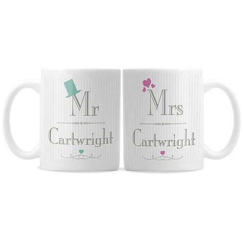Personalised Decorative Wedding Mr & Mrs Mug Set