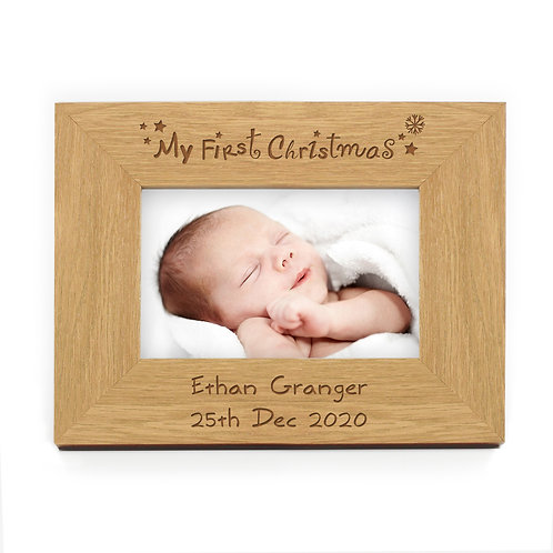Personalised Oak Finish My First Christmas Photo Frame