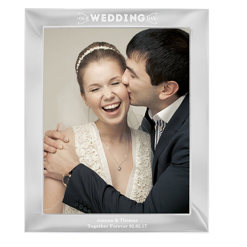 Personalise this aluminium 10x8 Photo frame with any message over 2 lines and up to 30 characters per line