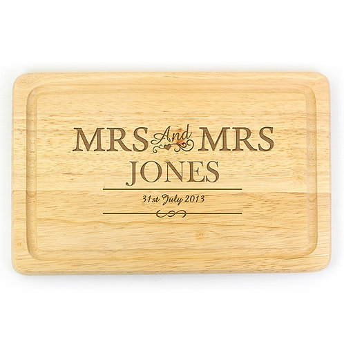 Personalise this Mrs & Mrs Chopping Board with a couples surname and wedding  date