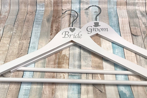 Bride & Groom Wooden Coat Hanger Set