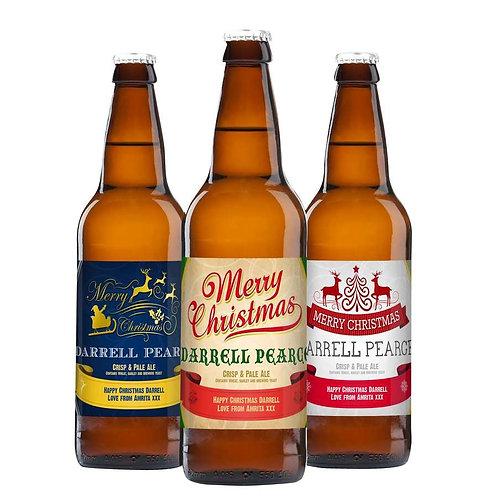 Personalised Christmas Set of 3 Beers -watchbox leamington