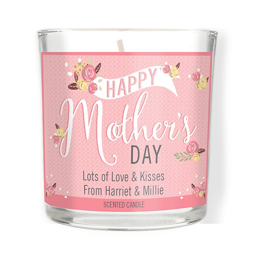 Personalised Floral Bouquet Mother's Day Scented Jar Candle​​​​​​​  A lovely gift idea for Mother's Day!