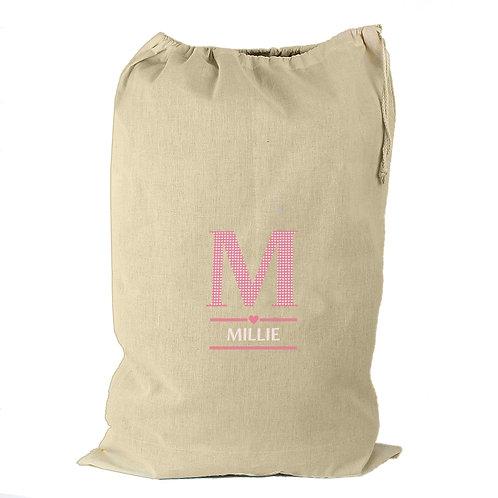 Personalised Girls Initial Cotton Sack