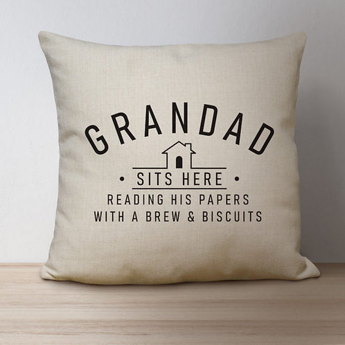 Personalised Sits Here Linen Cushion