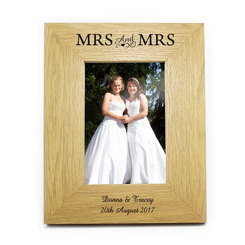 Personalised 6x4 Mrs & Mrs Wooden Photo Frame- watchboxleamington.com