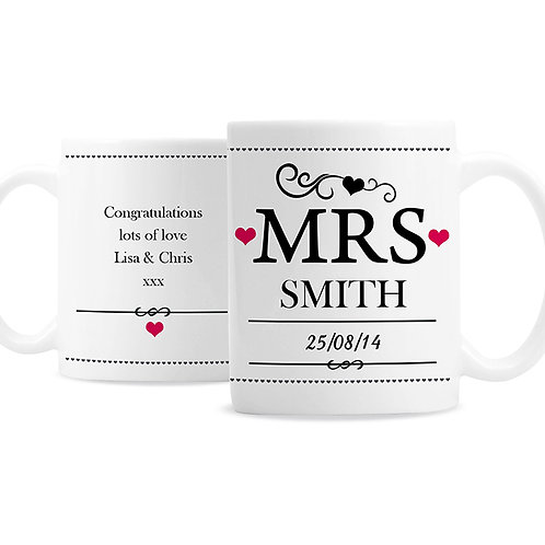 Personalise this Mrs mug with a surname date and a short message, add the personalise touch to your anniversary gift
